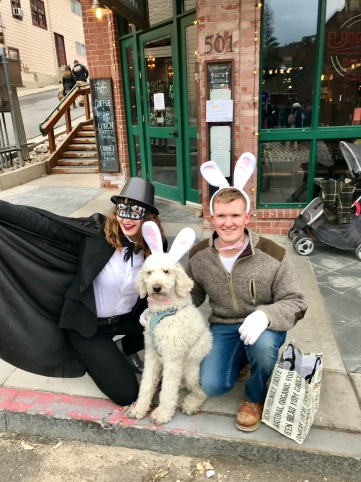 we went to park city main street to walk around and hand out candy to kids. there were SO many people in intense costumes, it was awesome. (seth is a good sport for wearing a glitter bow tie)